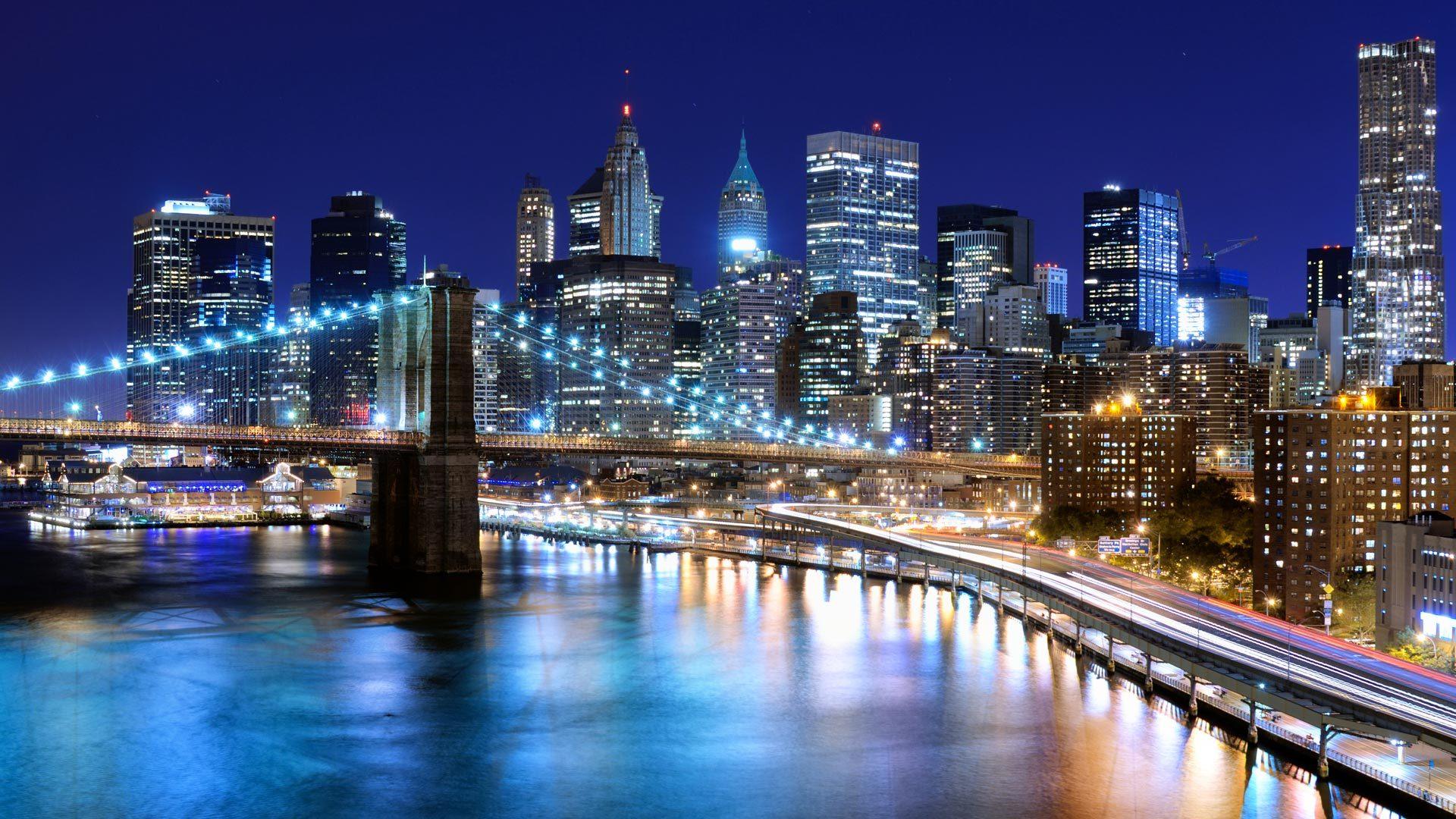Pont ville illuminée